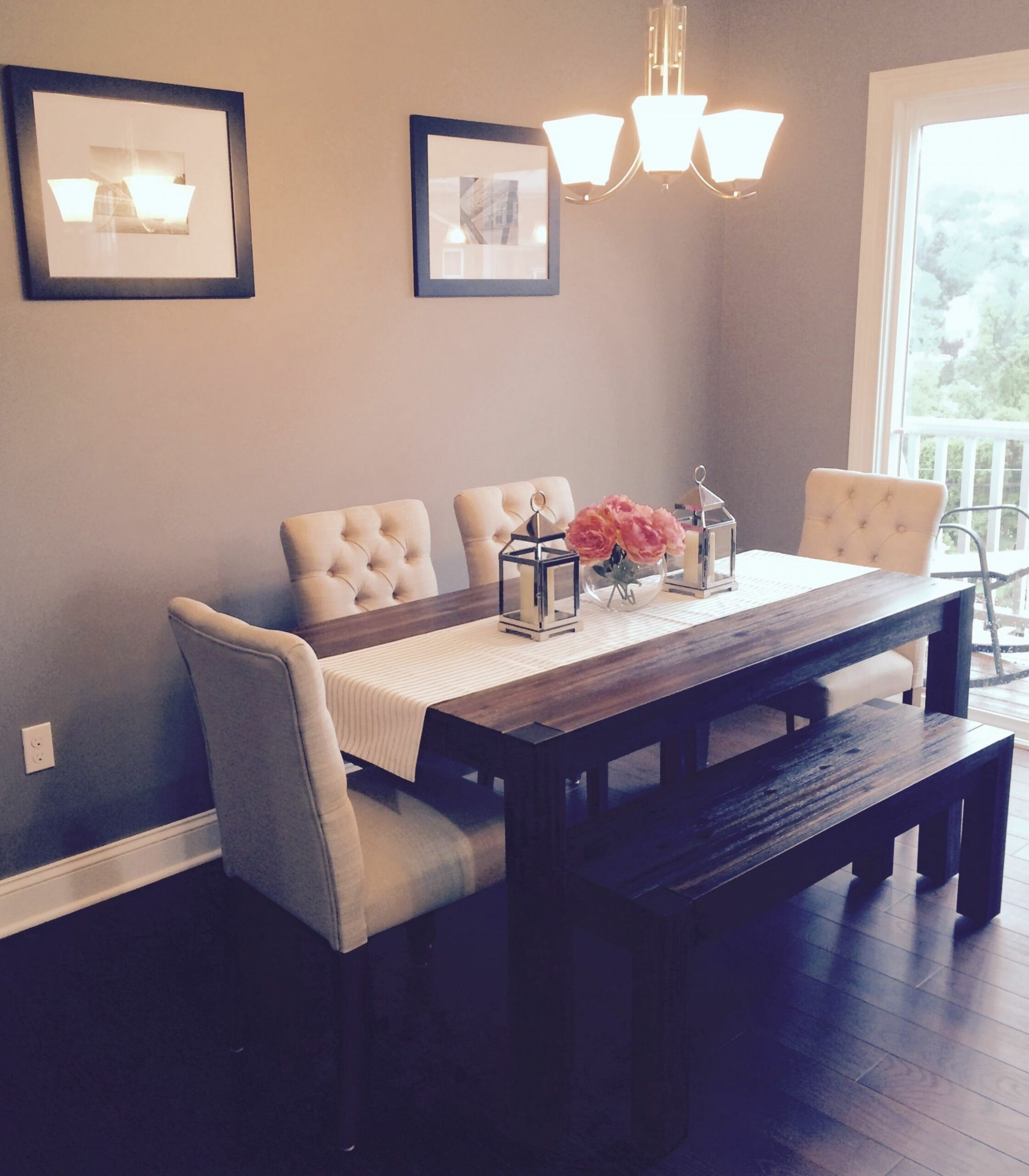 Dining room: Avondale (Macy's) table & bench with fabric chairs ...