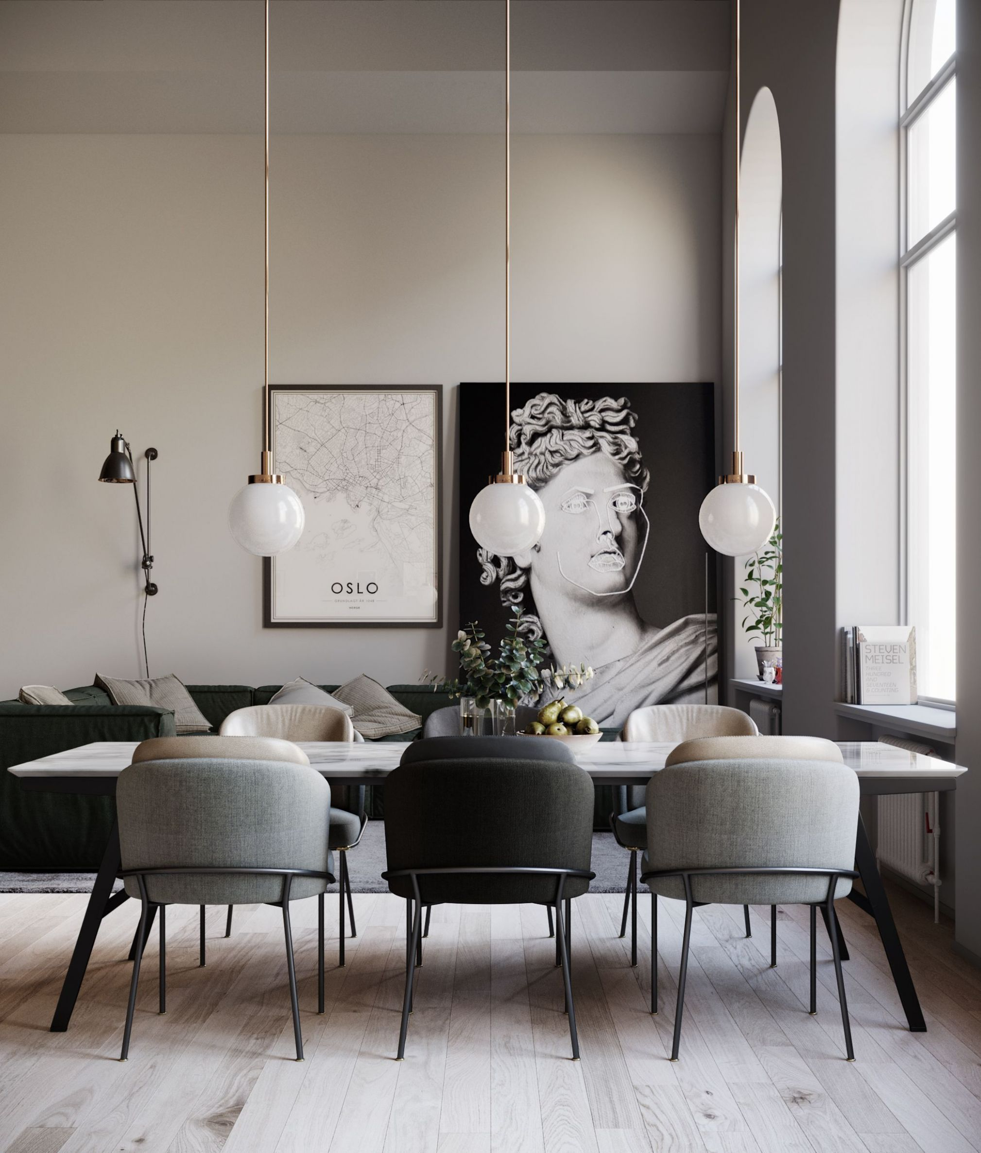 Dining Room decor ideas - modern contemporary style with natural ...
