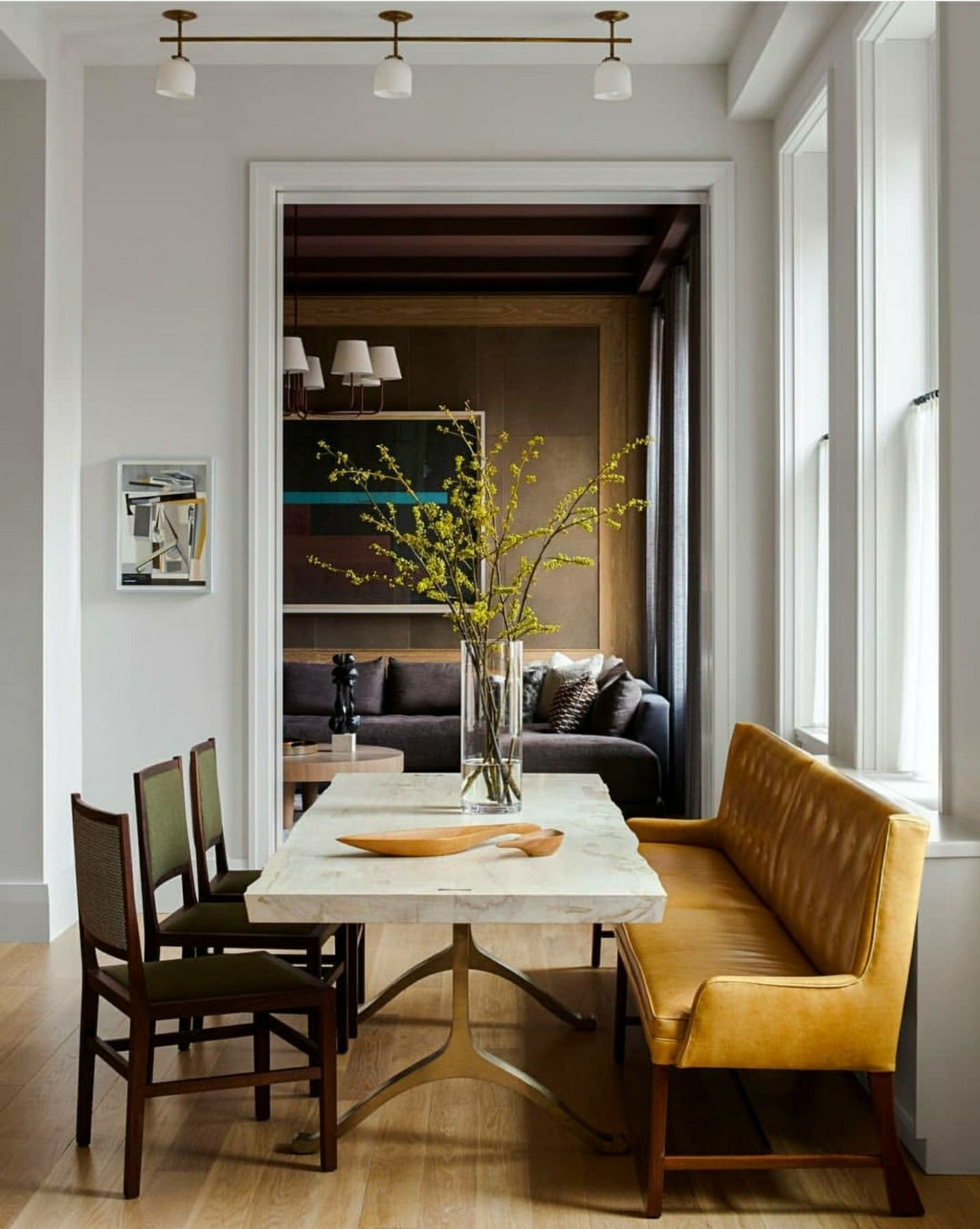 Dining room ideas, large table, upholstered bench, comfortable ...