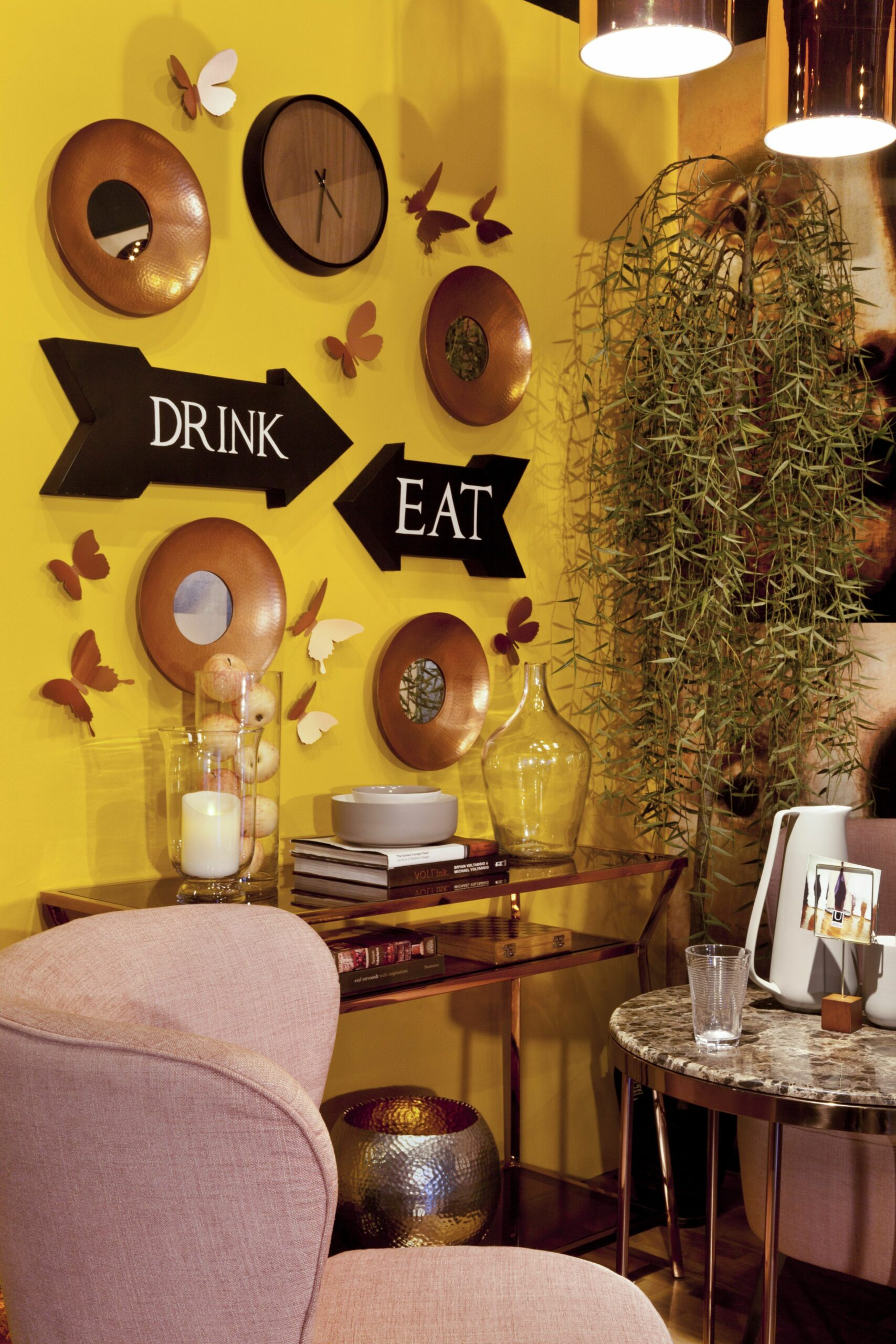 Dining   Wow: All you need is a bright yellow wall with copper ...