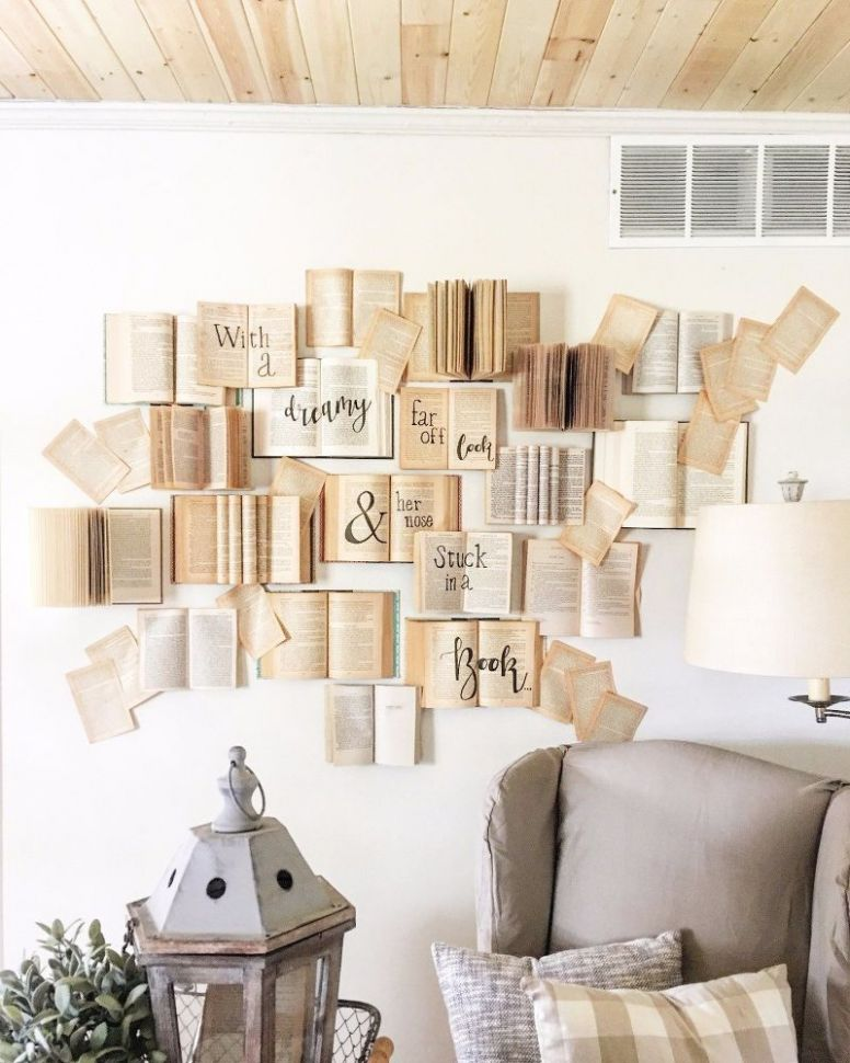 DIY Book Wall Tutorial | Creative wall decor, Diy wall decor, Decor - diy home decor book