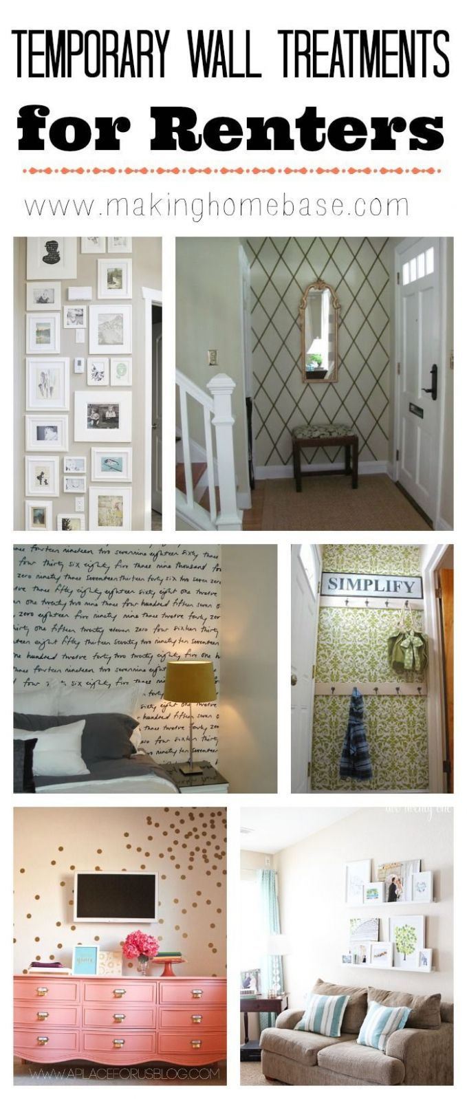 DIY Decorating : Temporary Wall Treatment for Renters - really for ...