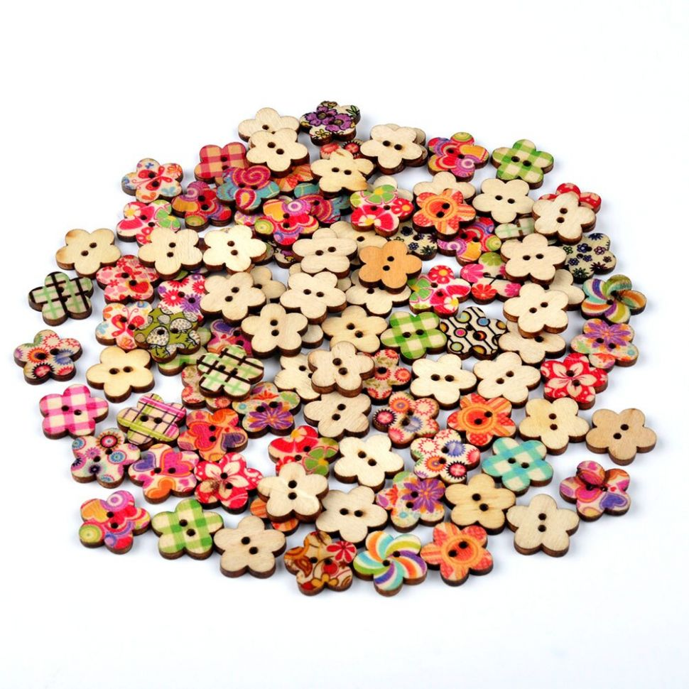 DIY Home Decor Tools Cardmaking Circular Button Random Mix Wooden ...