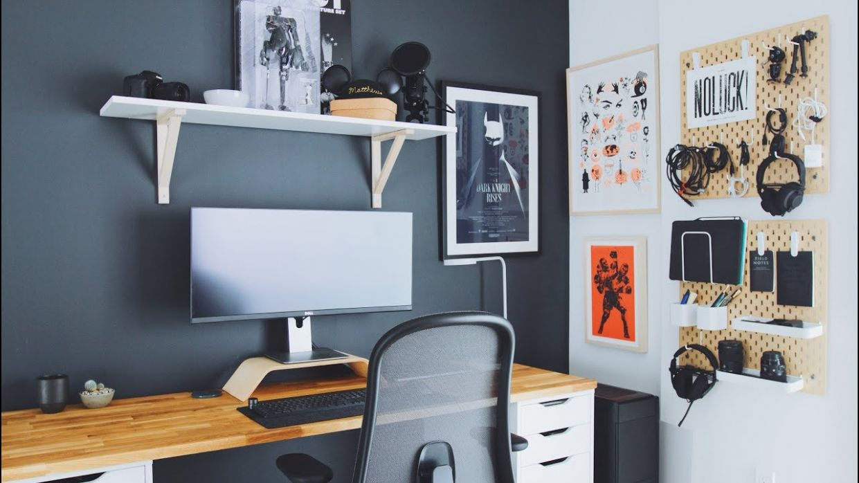 DIY Home Office and Desk Tour — Work From Home Setup - home office location ideas