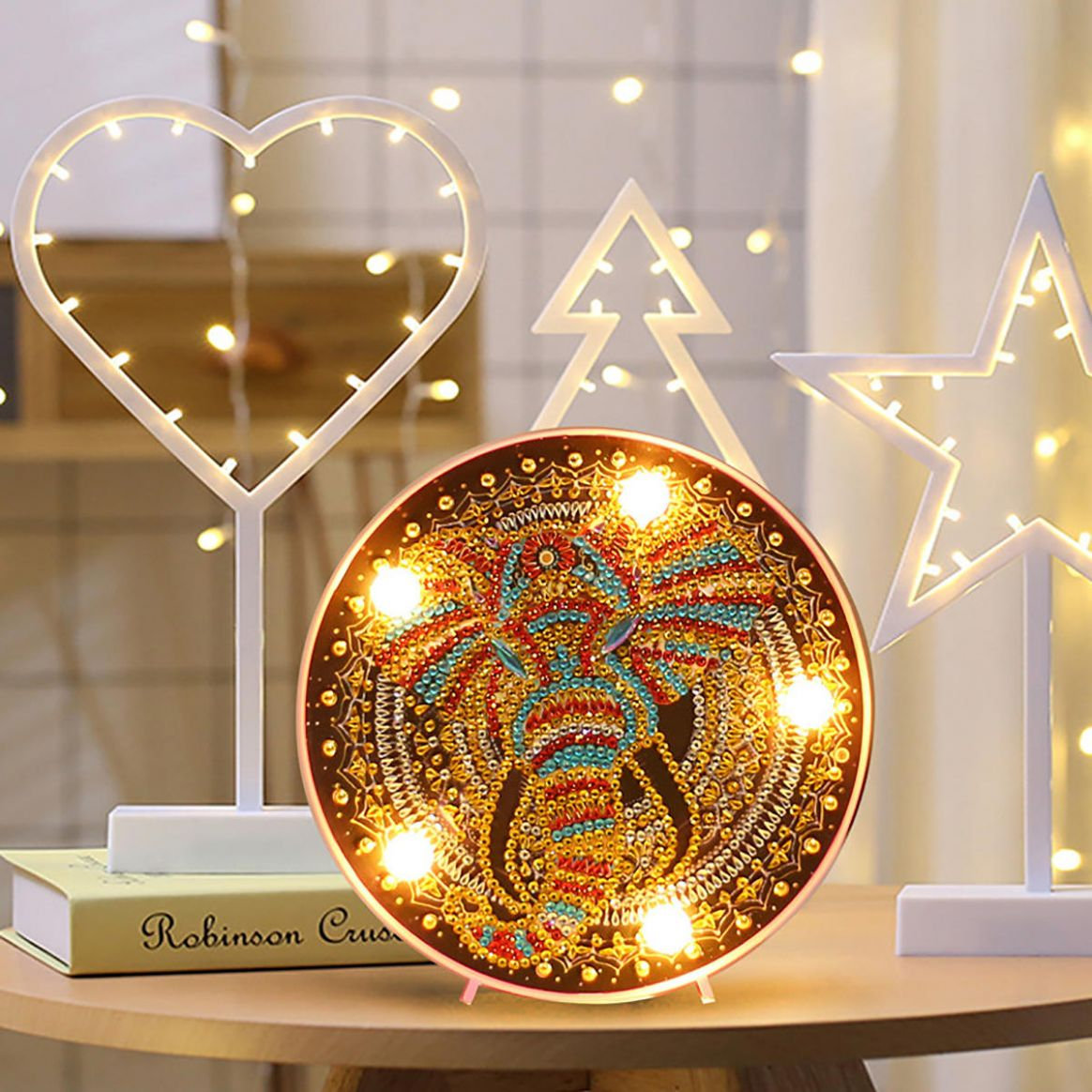 DIY LED Diamond Painting Mandala Elephant Owl Night Light Art Home Decor  Gift - diy led home decor