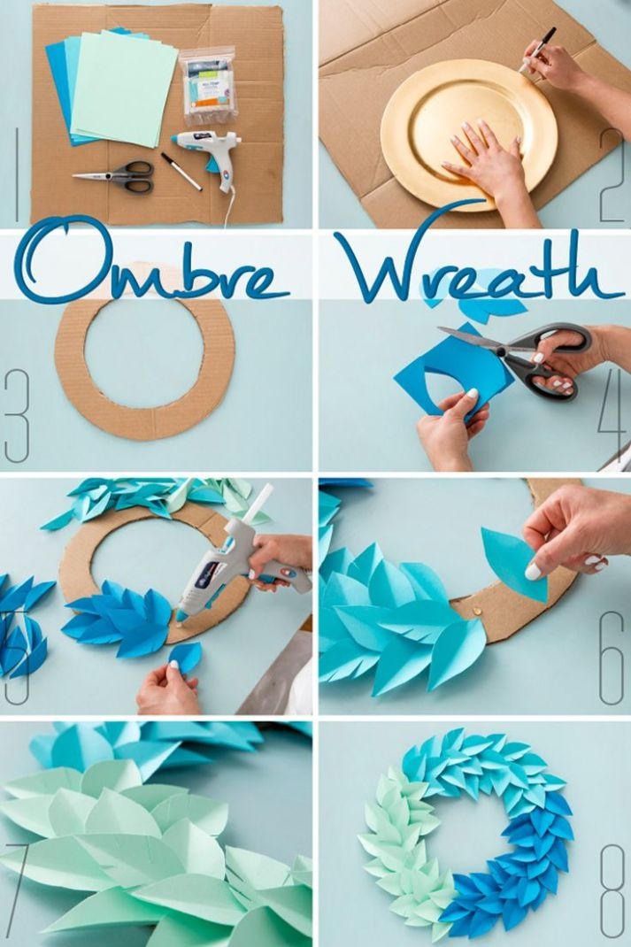 DIY Ombre Wreath. Use colorful cardstock paper, cardboard, and ..