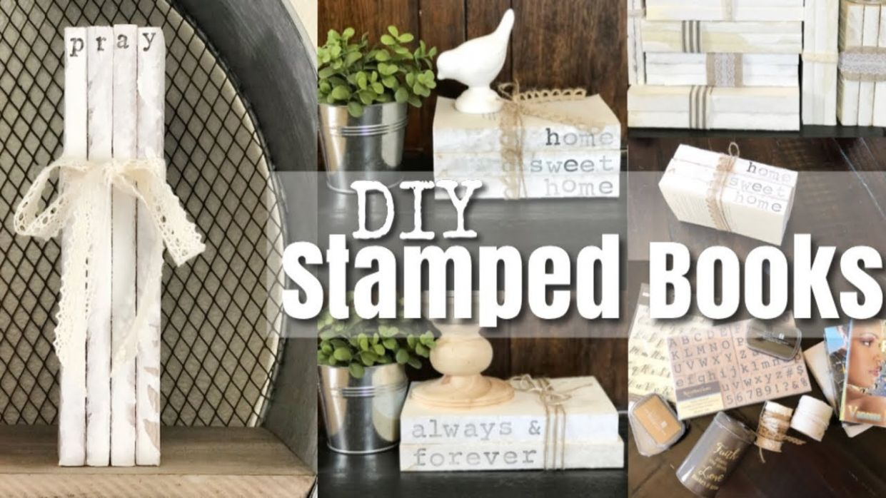 DIY Personalized Stamped Stacked Books/ Farmhouse DIY Home Decor - diy home decor book