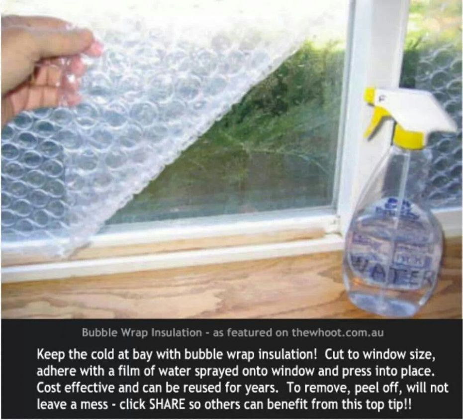 DIY: Use bubblewrap to insulate windows... | Bubble wrap window ...