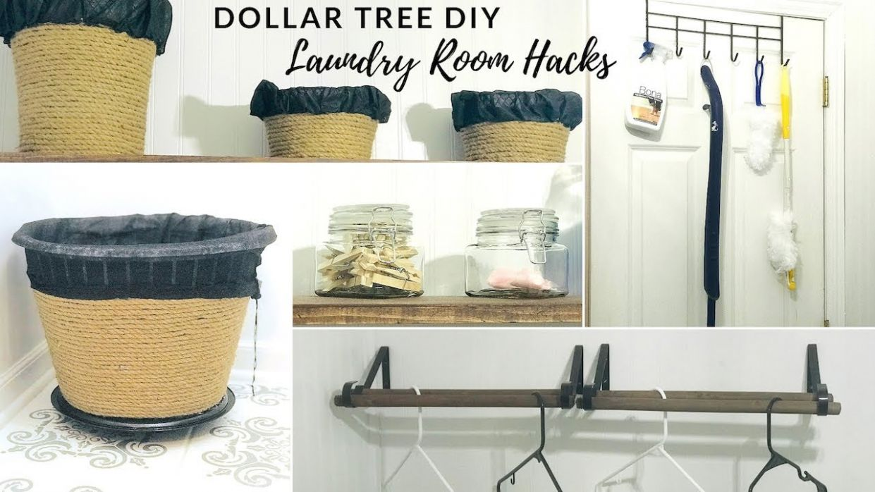 DOLLAR TREE DIY FARMHOUSE LAUNDRY ROOM ORGANIZATION AND HACKS - laundry room organization ideas diy