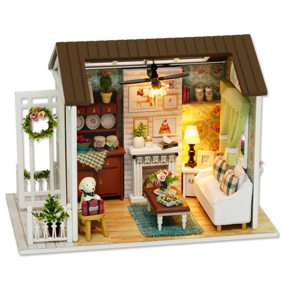 Domqga DIY House Kit, Cottage Toy Kit, DIY Wooden Cottage Miniature House  Kit Kids Gifts Toy Home Decoration with Dust-proof Cover