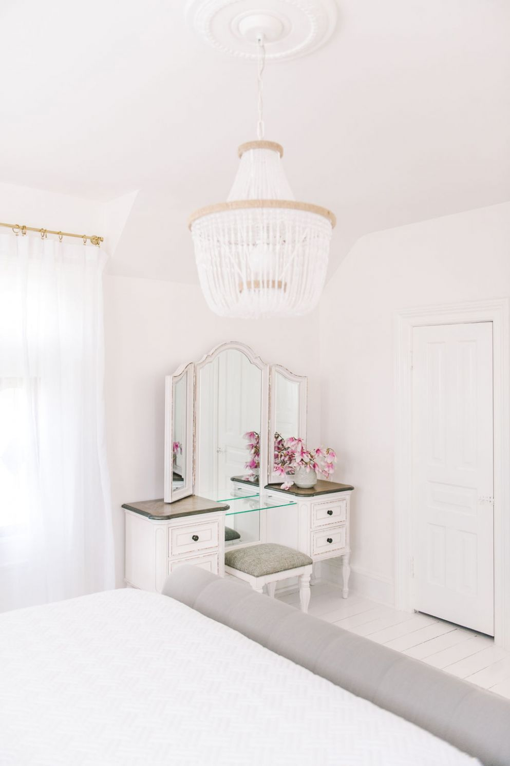 dream master bedroom white vintage makeup vanity beaded chandelier ...