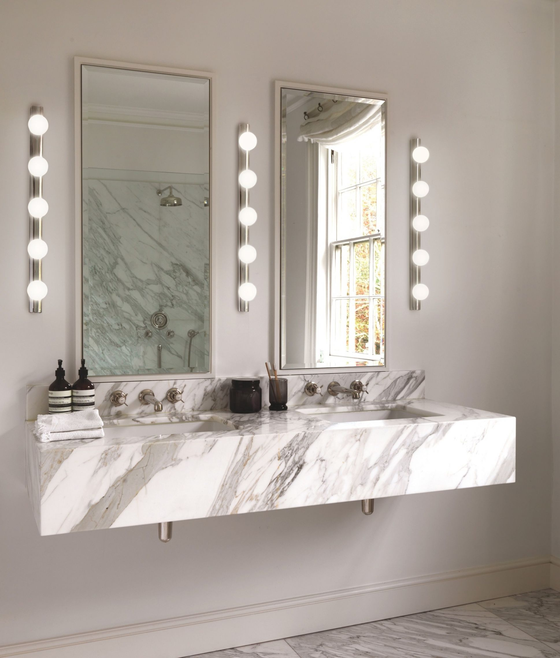 Dressing Room Mirror Light - Opal Glass Globes - makeup room lights