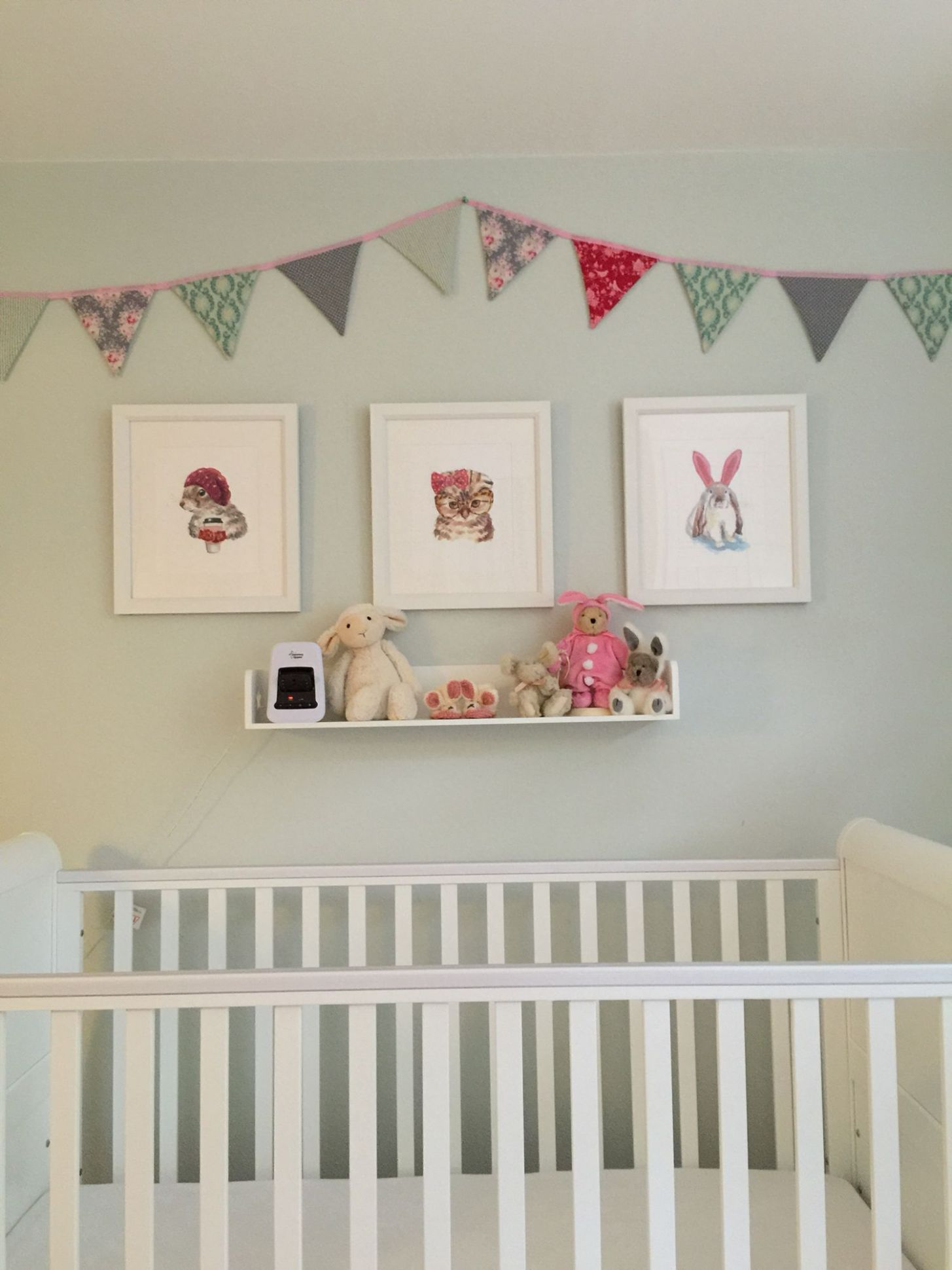 Duck egg blue nursery with bright pink punting and cute animal ...