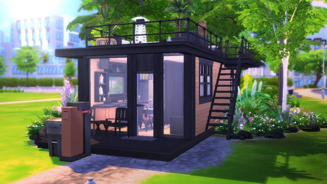 ECO MODERN TINY HOUSE || The Sims 11: Speed Build - tiny house sims 4