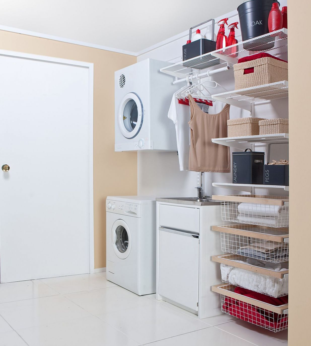 Elfa also has sliding doors to close off a laundry space. Walk ..