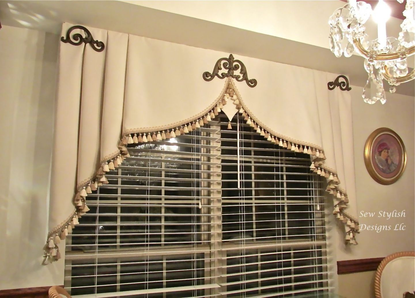 Embellished Milan valance with iron scrolls and tassel fringe in ..