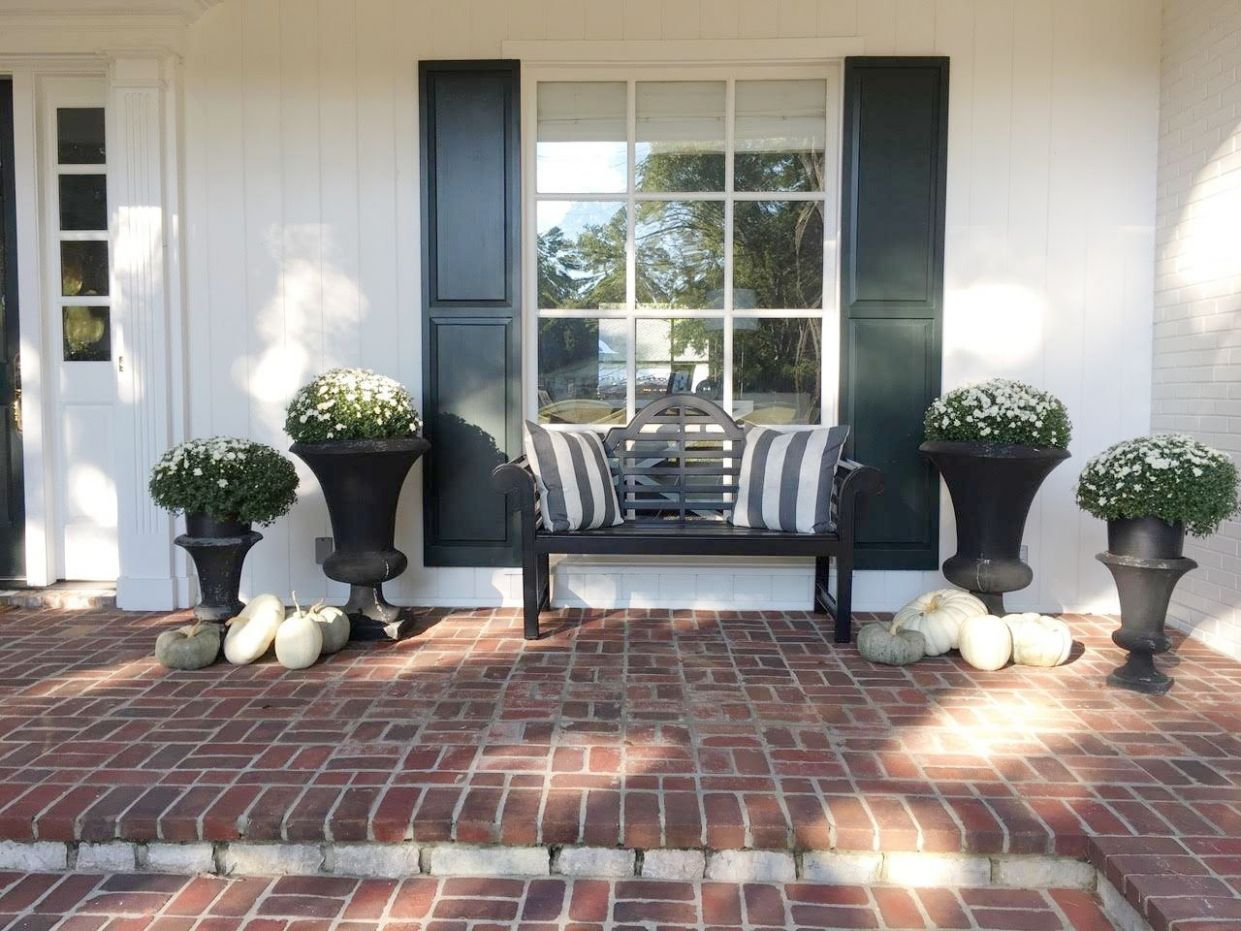 Fall Front Porch Decorations black bench with white mums and gray ..