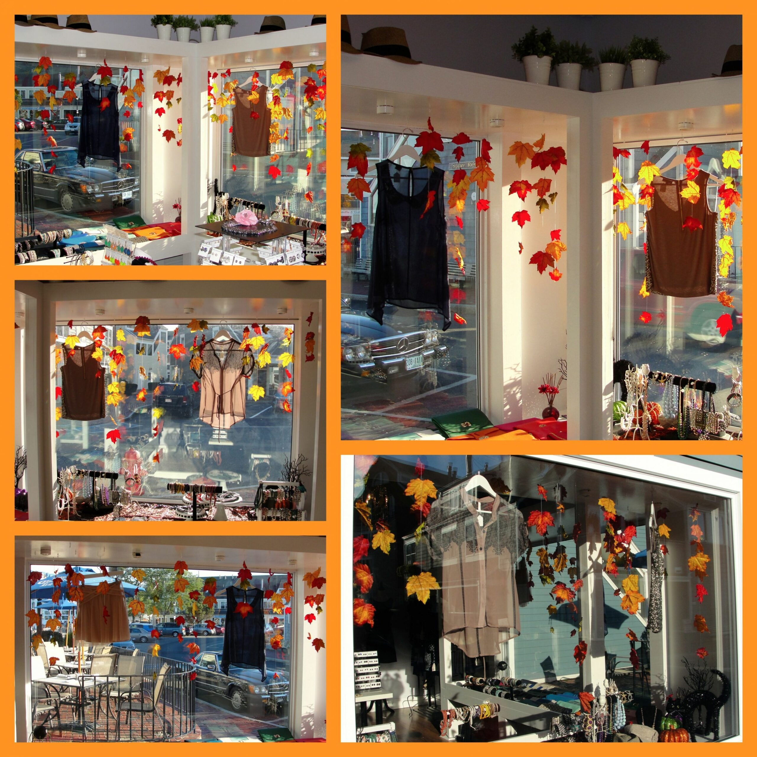 Fall window display #leaves | Charity shop display ideas, Easter ..