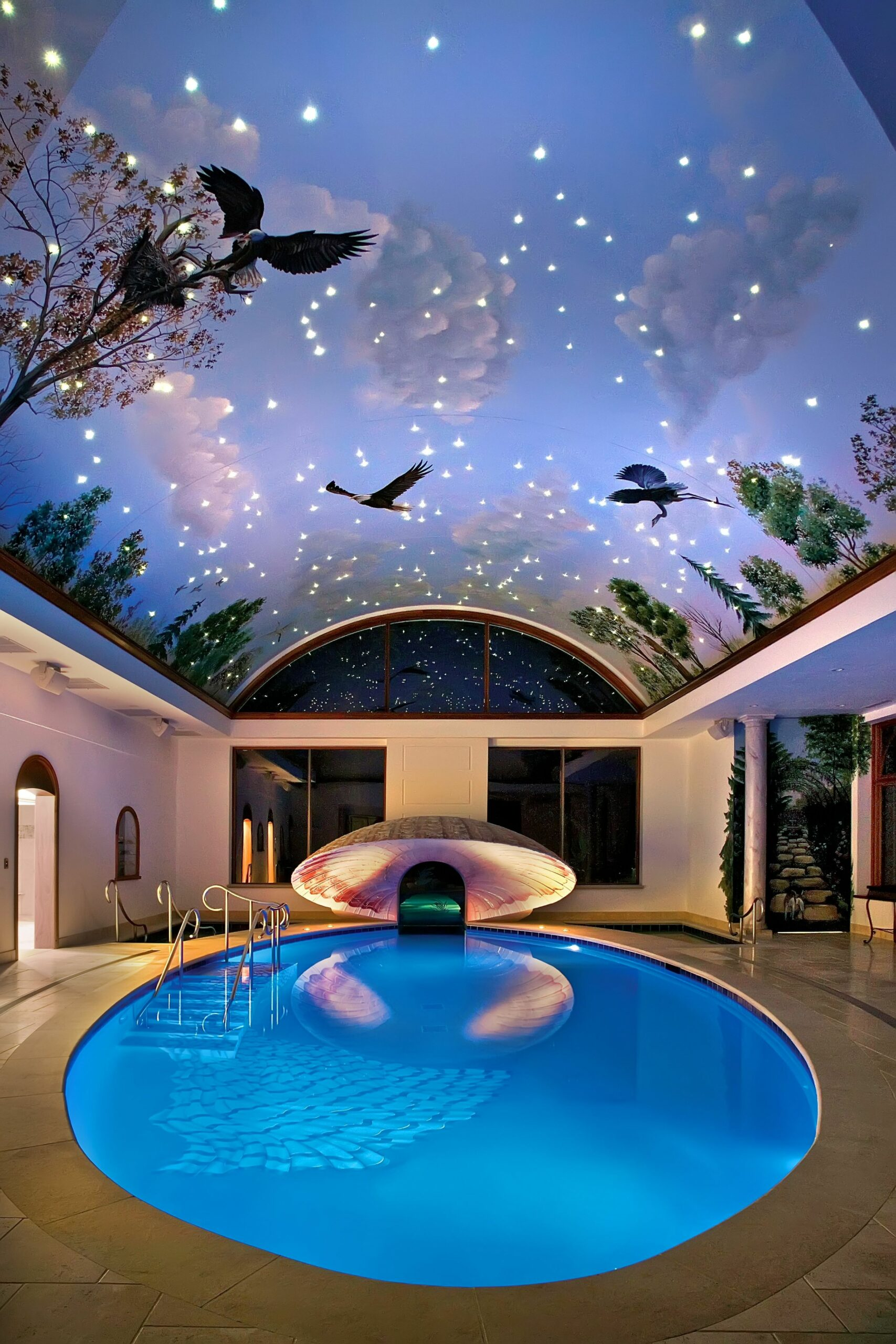 Fantasy Indoor Swimming Pool With Sky Mural Roof And Ceramic Floor ..