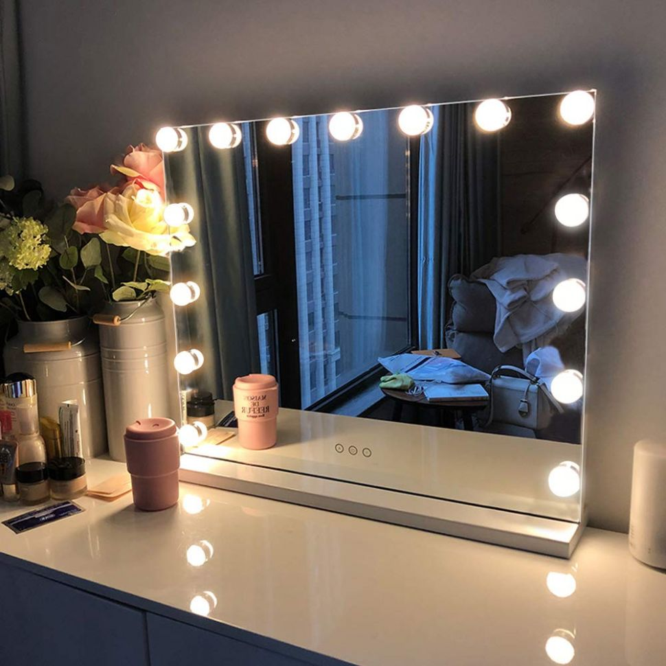 FENCHILIN Large Vanity Mirror with Lights, Hollywood Lighted Makeup Mirror  with 10 Dimmable LED Bulbs for Dressing Room & Bedroom, Tabletop or ...