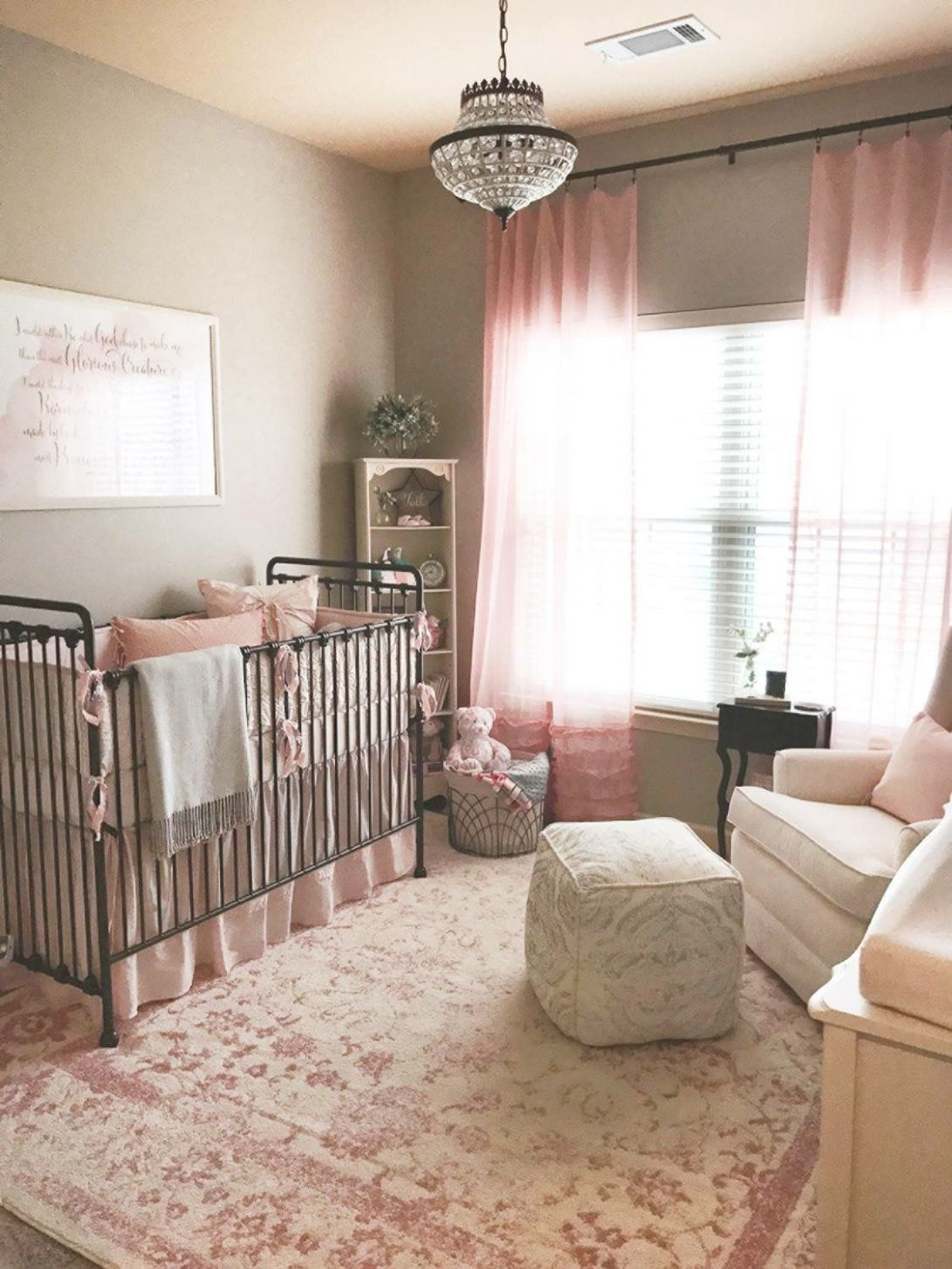 Finished nursery for our baby girl! Rose, blush, ivory, and gray ...