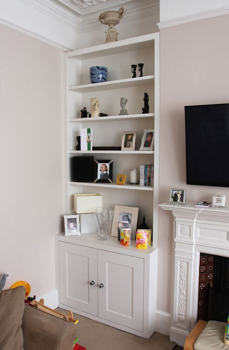 Fitted alcove bookshelves in Ealing Broadway | Large living room ...