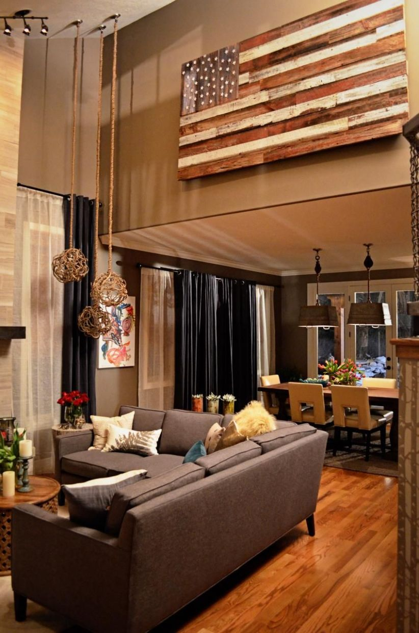 flag painted on wood scraps...fills tall wall space | High ceiling ..