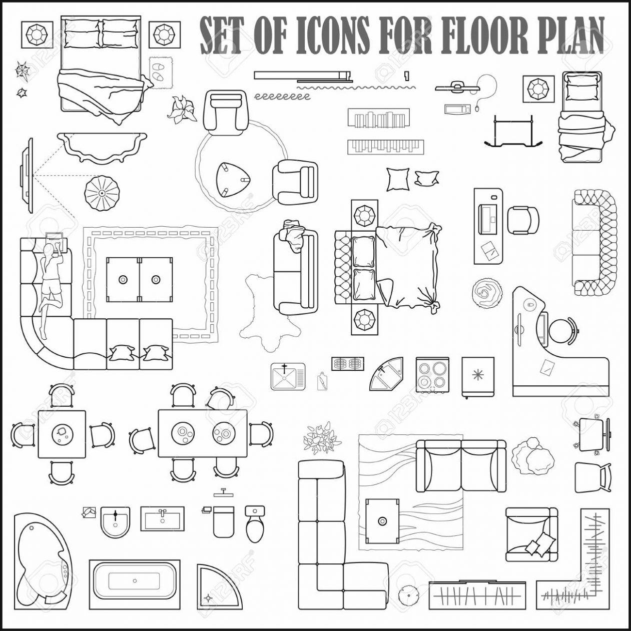 Floor plan icons set for design interior and architectural project..