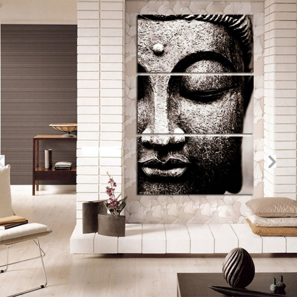 Framed 12pcs Abstract Gray Buddha Modern home decor Canvas Print Painting  Wall Art Picture Living Room Modular picture /PT10125