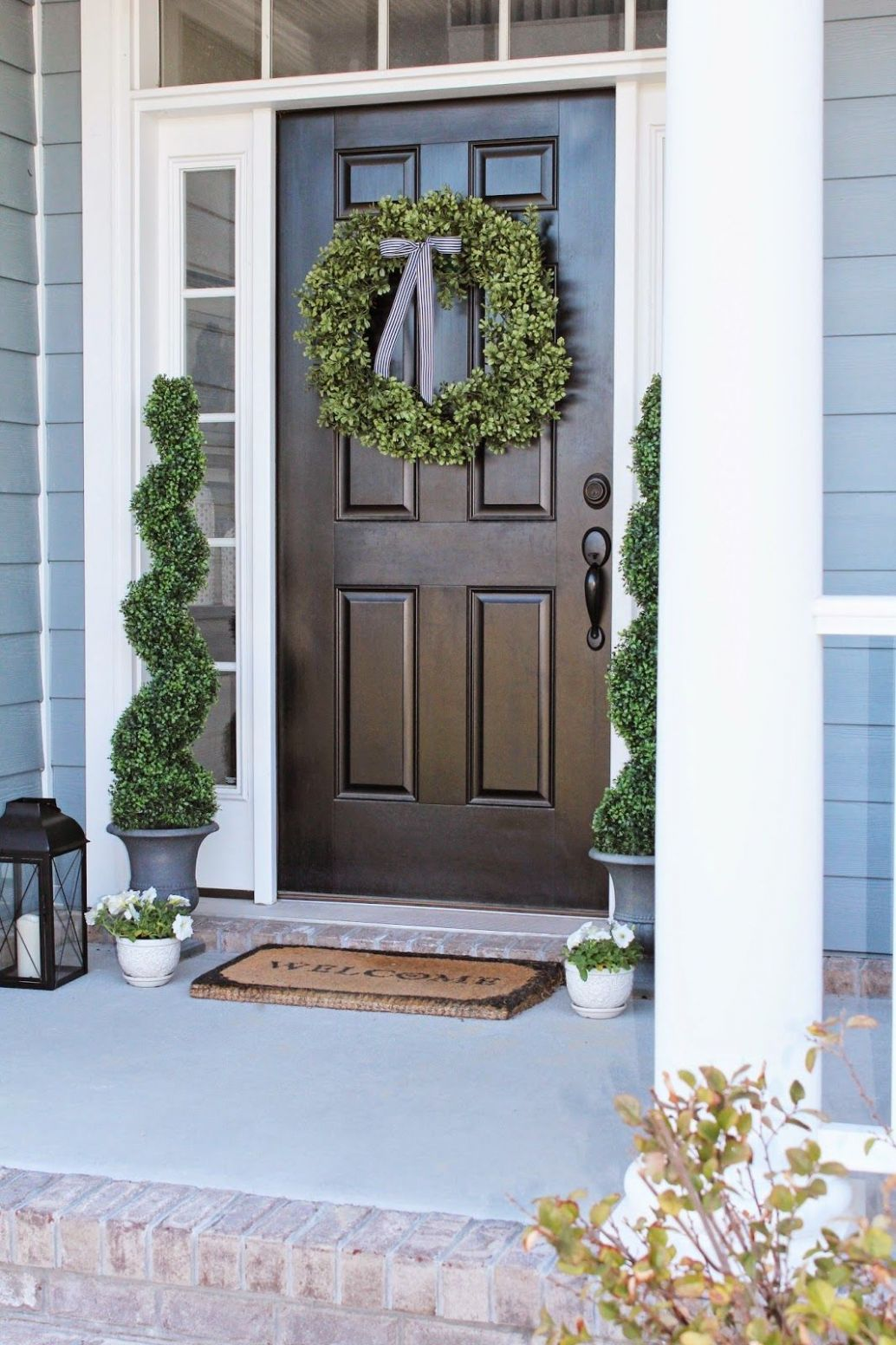 Front Porch Decor and a Little Blue House Boxwood Wreath and ...