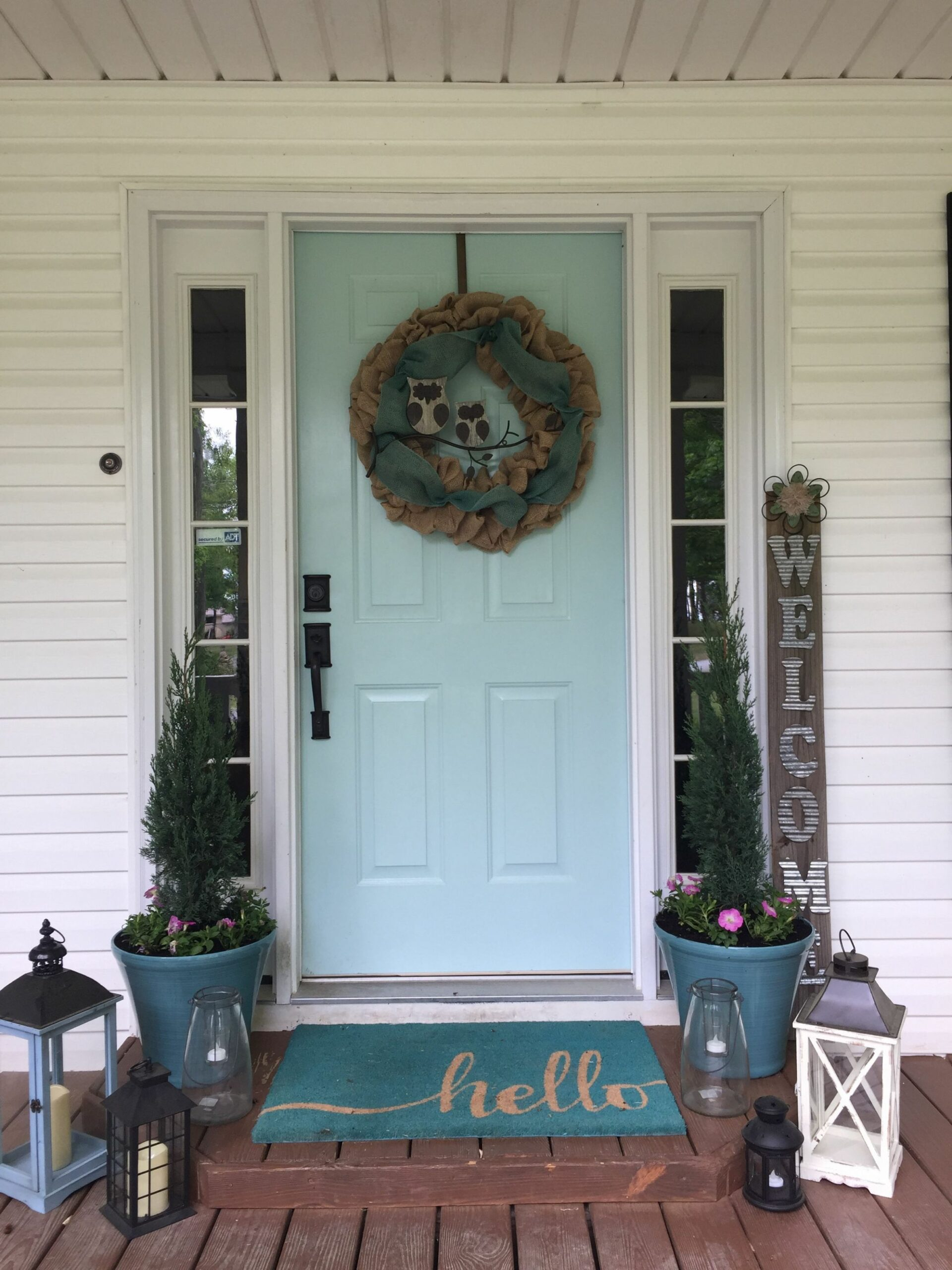 Front porch with lanterns. Sherwin Williams watery paint on front ..