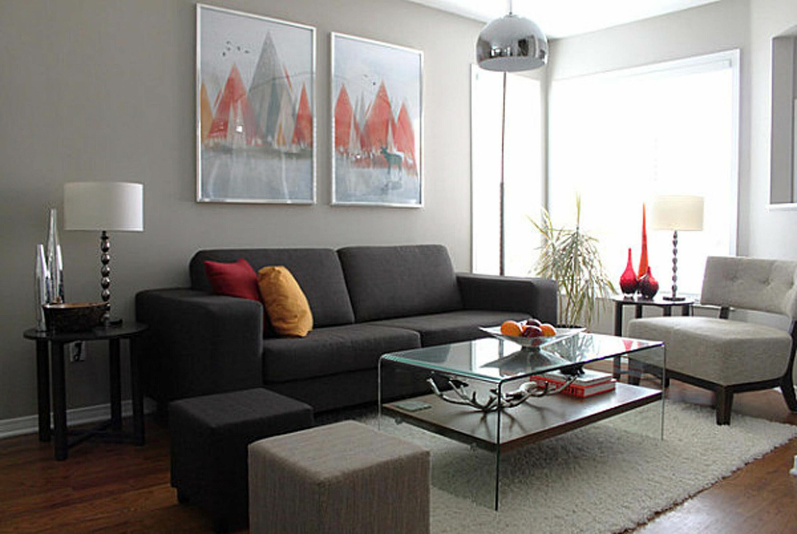 Furniture : Grey Walls Living Room Ideas Dark Gray Sofa Red And ..