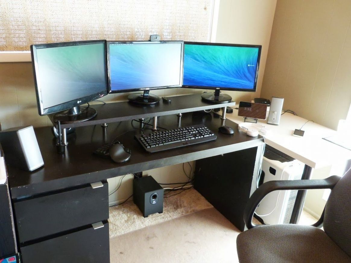 Gaming Desks   Monitor stand ikea, Home office setup, Monitor stand - home office monitor ideas