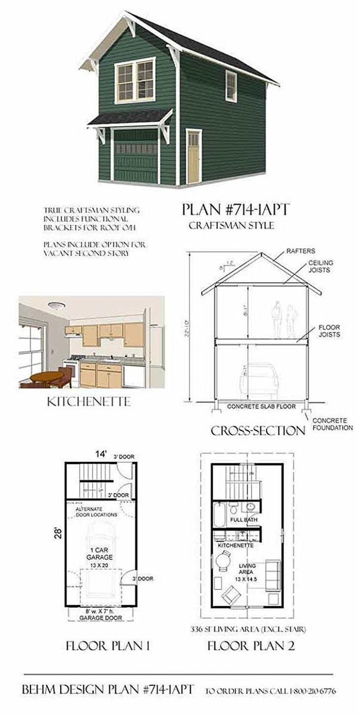Garage Plans: Craftsman Style One Car Two Story Garage With ..