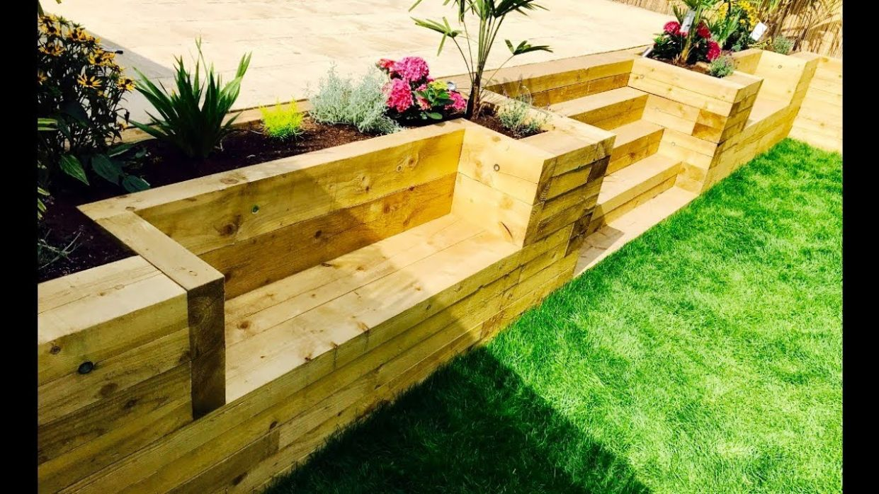 Garden Levelling, Retaining Wall, Stairs, Benches From Railway Sleepers - garden ideas with sleepers