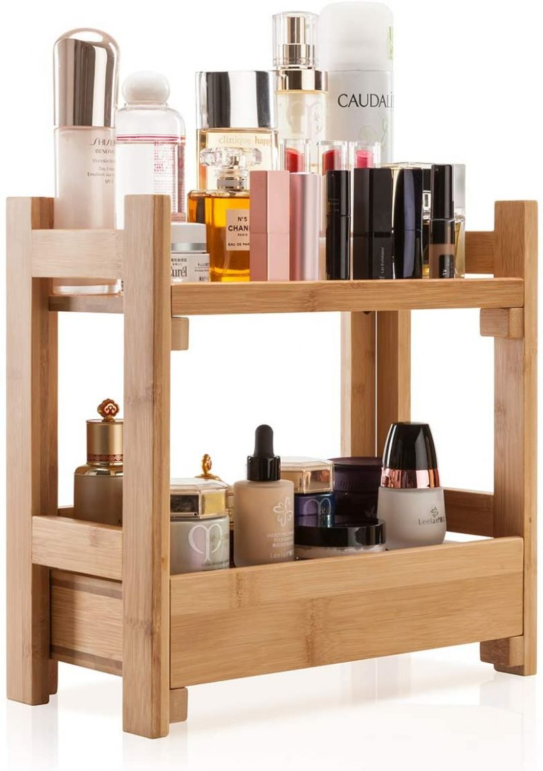 GOBAM Makeup Organizer Holder Cosmetic Storage Bathroom Organizer Display  Shelf with Drawer Large Capacity and Easily Assembled Suitable for Mom or  ..