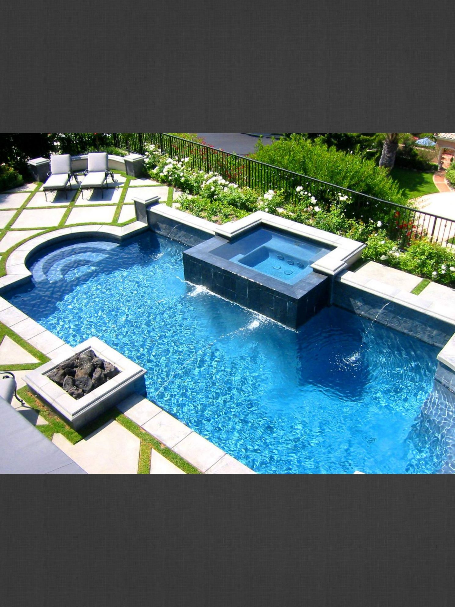 Grass and cement deck around pool | Hot tub garden, Fire pit ..