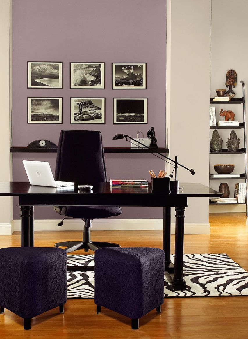Gray and purple home office color scheme | Home office colors ..