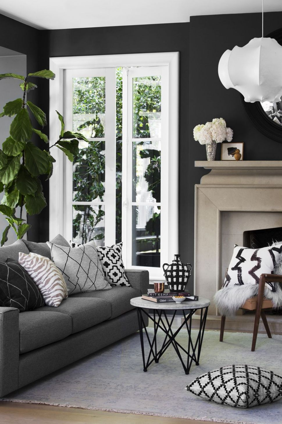 gray couch with dark walls- living room inspiration | Dark walls ..