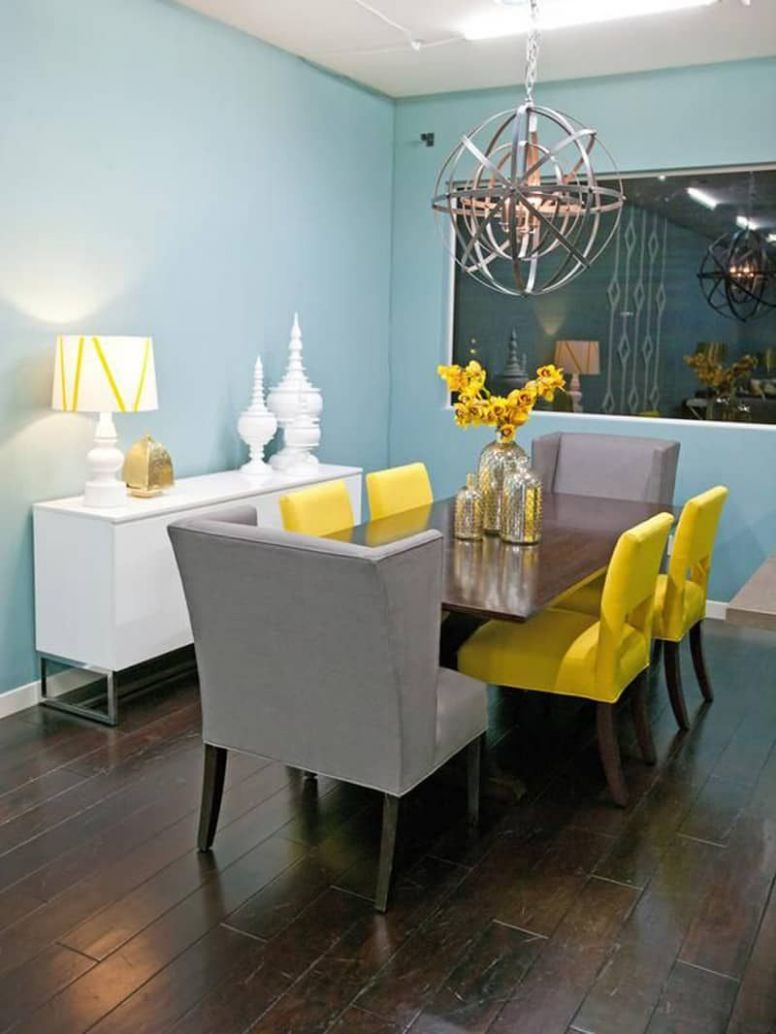 Grey And Baby Blue Living Room Ideas in 12 | Yellow dining room ...