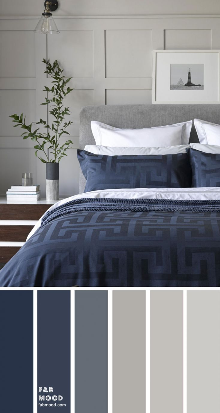 Grey and dark blue color scheme for bedroom