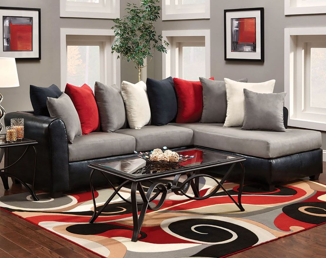 grey couch living room red - Google Search | Red living room decor ..