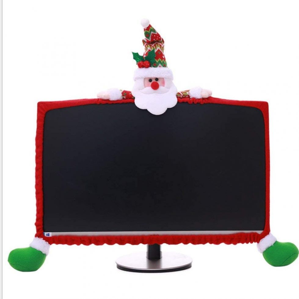 Gugou Computer Monitor Cover, Elastic Computer Cover Christmas Decorations  for Home Office Decor and New Year Gift Ideas (Santa Claus) - home office monitor ideas