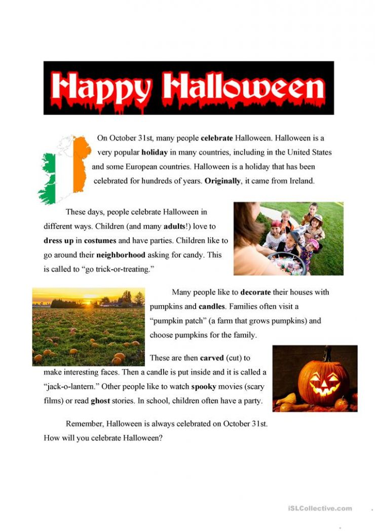 Halloween Easy Text - English ESL Worksheets for distance learning ...