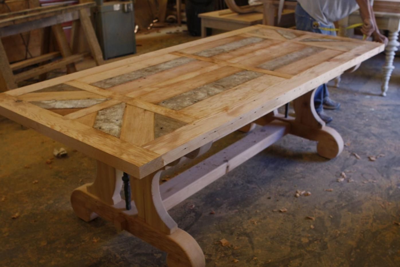 Hand Made Custom Trestle Dining Table - Can Add Leaf Extensions ..
