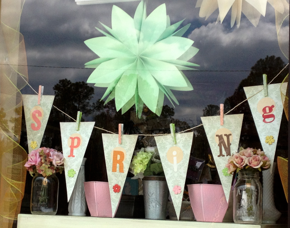 Handmade Spring banner for the window display at the TrulyTina ...