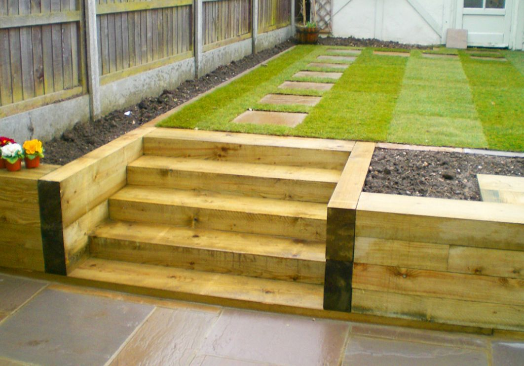 Hardwearing Softwood and Hardwood Railway Sleepers - garden ideas with sleepers