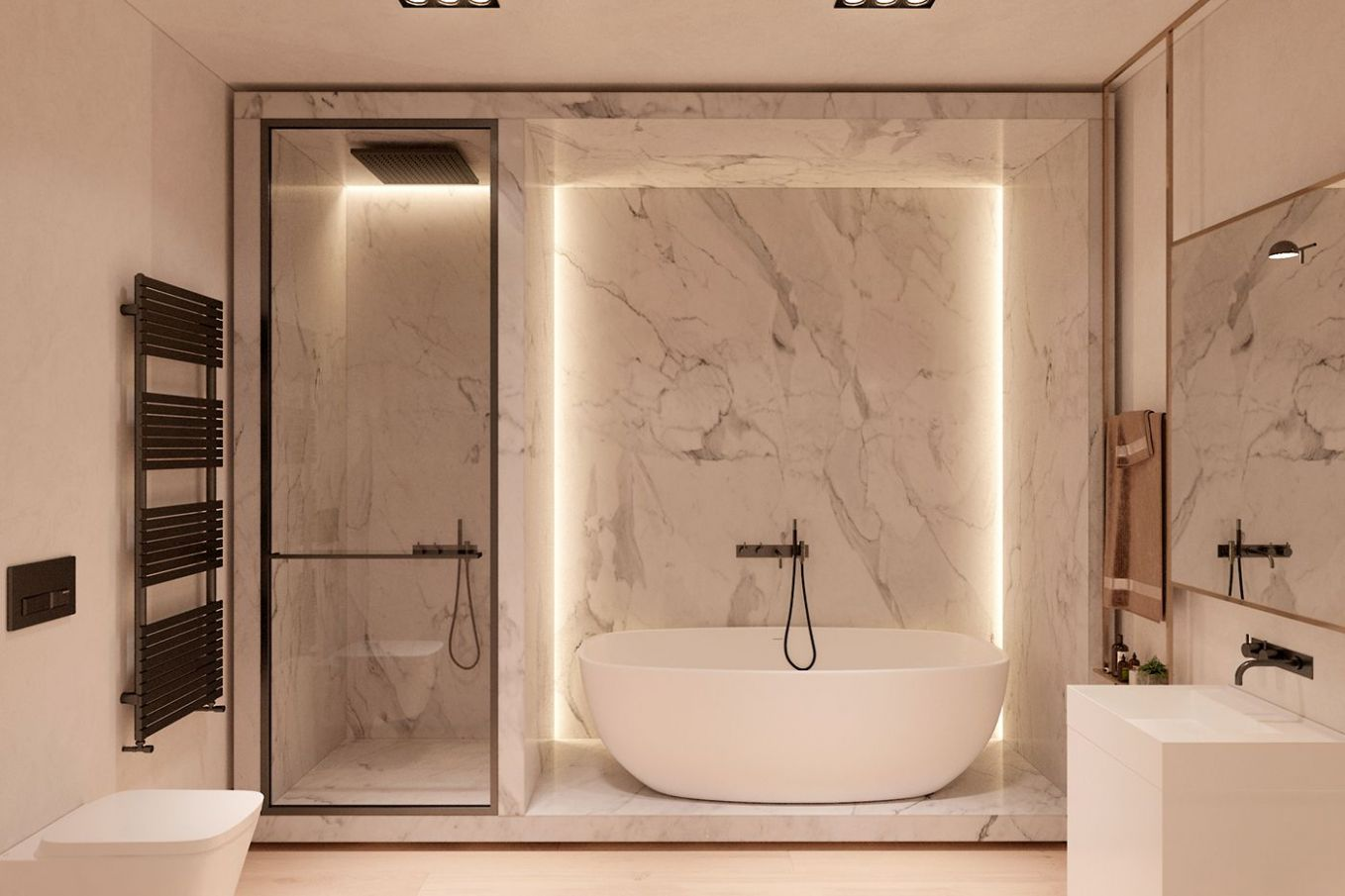 Harmonious modern interior for a young couple by Zooi | Bathroom ...