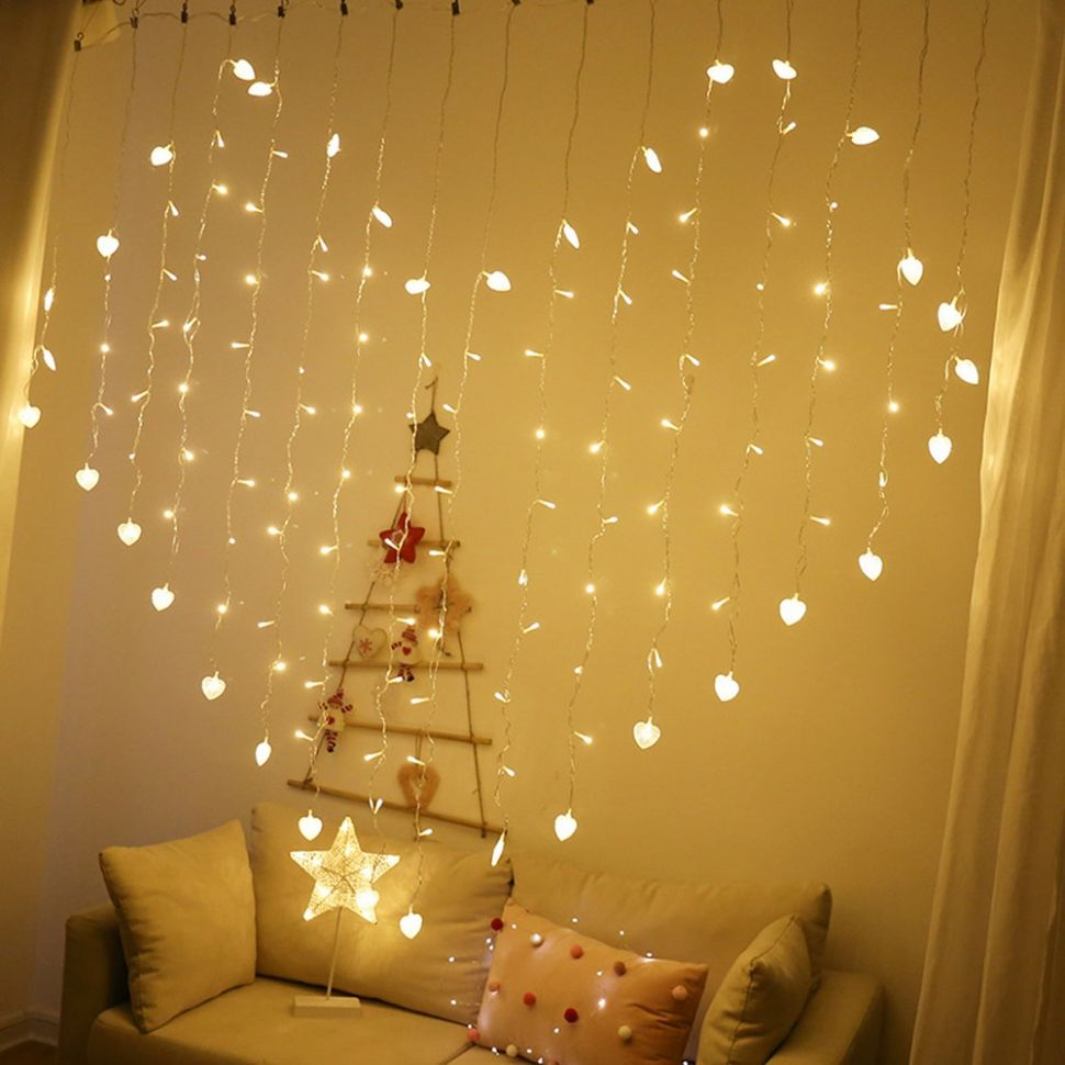 Heart Shape Curtain Lights 10 Modes Waterproof Twinkle String ...