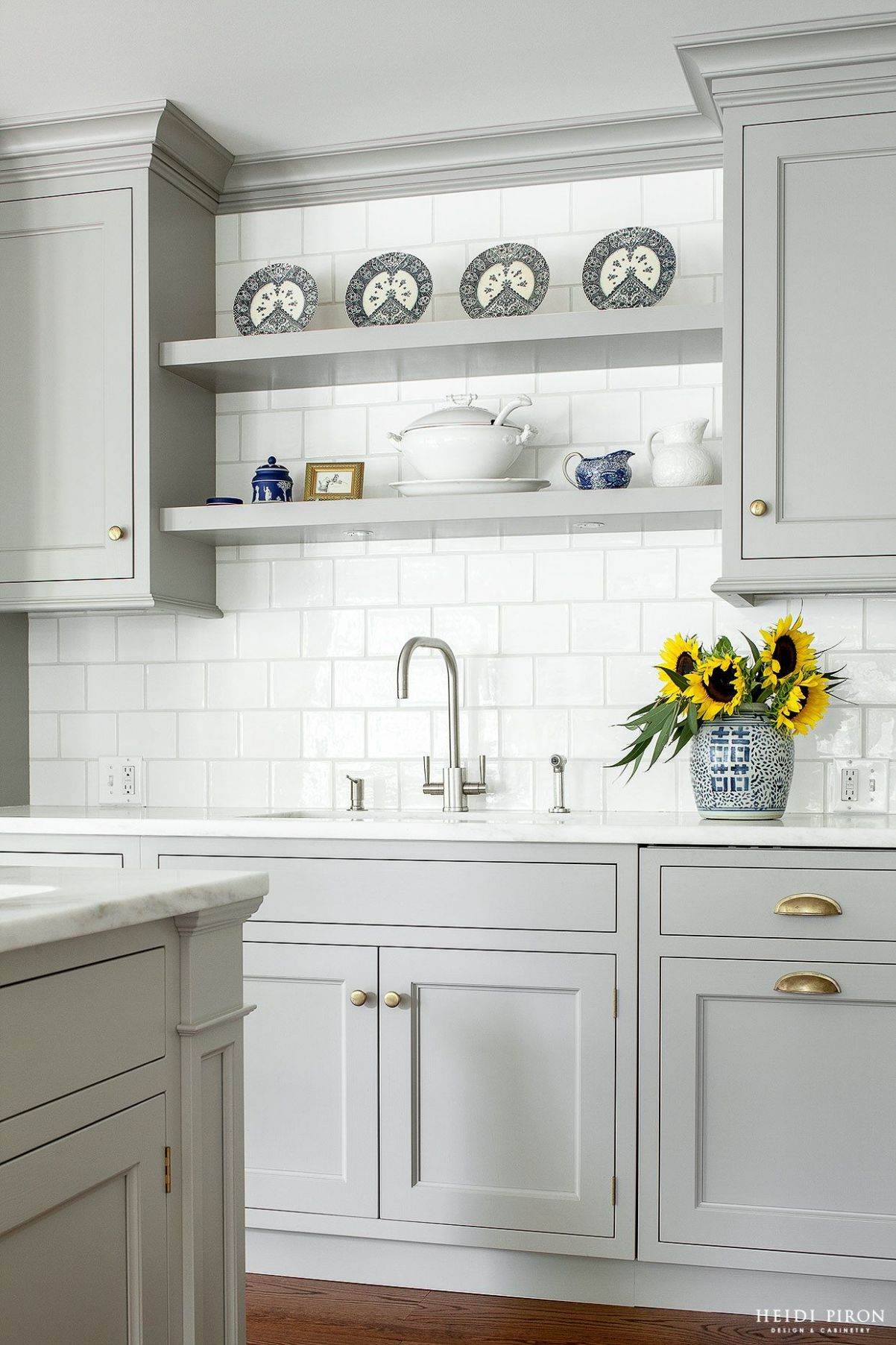 Heidi Piron Design and Cabinetry - Traditional - shelving over ...